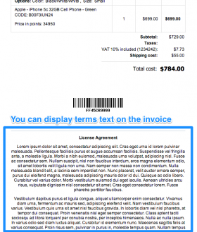 Terms and conditions on the invoice page